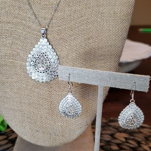 Sterling silver necklace w/charm and earrings